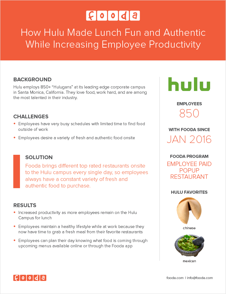 how hulu made lunch fun and authentic while increasing employee